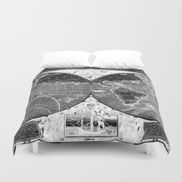 Black and white World Map (1595) Inverse Duvet Cover