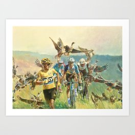 'Froome Chasing Geese. Tour de France 2016' Art Print