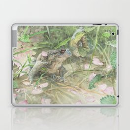 Toad with Cherry Blossom Petals Laptop & iPad Skin