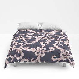 Blush Pink White Floral Lace on Navy Blue Comforters