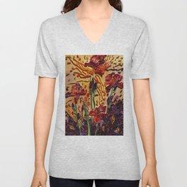 Red Irises Unisex V-Neck