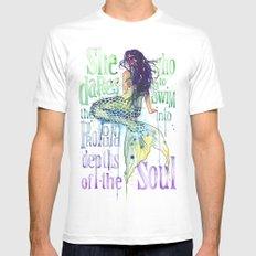 Mermaid : Profound Depths White MEDIUM Mens Fitted Tee