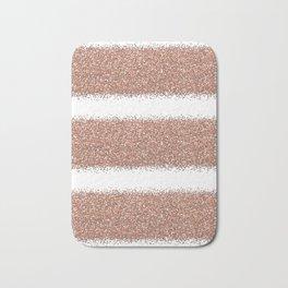 Rose gold glitter stripes Bath Mat