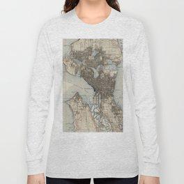 Vintage Map of Seattle Washington (1908) Long Sleeve T-shirt
