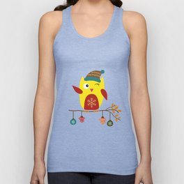 Cute Owl sitting on a branch with christmas baubles, Winter, X-mas Design Unisex Tank Top