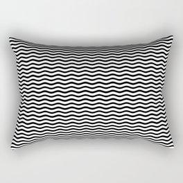 Classic Small Black and White Chevron Wave Wavy ZigZag Stripes Rectangular Pillow