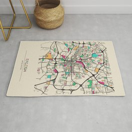 Colorful City Maps: Raleigh, North Carolina Rug