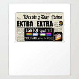 LGBT Gay Pride Flags Newspaper Unicorn Pug Funny Gift design Art Print