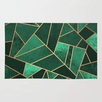 copper Area & Throw Rugs featuring Emerald and Copper by Elisabeth Fredriksson
