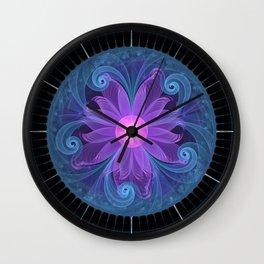 Blown Glass Flower of an ElectricBlue Fractal Iris Wall Clock