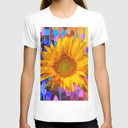 COLORFUL CARNIVAL YELLOW SUNFLOWER  ABSTRACT ART T-shirt