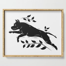 Jumping Dog With Leaves –black palette Serving Tray