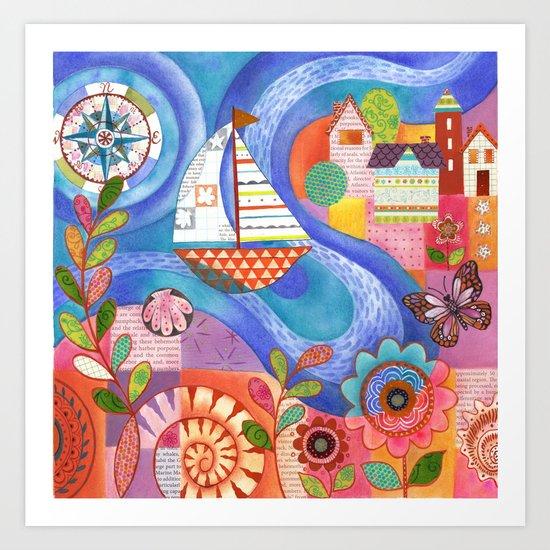 Summer Harbor Art Print