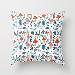 Winter mushrooms Throw Pillow