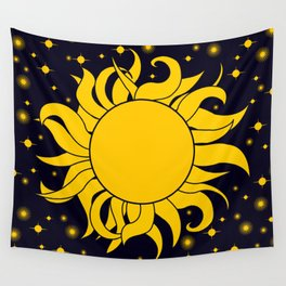 Bold Yellow Sun & Stars On Dark Blue Wall Tapestry