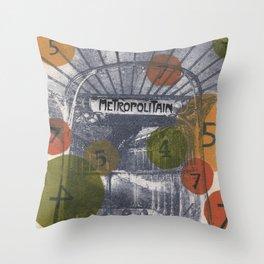 Paris Metro Print Throw Pillow