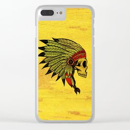American Indians Death face Design Clear iPhone Case