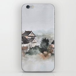 Japanese ancient city in fogging day iPhone Skin