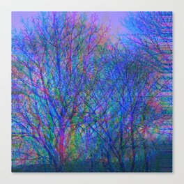 Blurred Winter Forest, blue Canvas Print