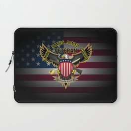 United States Armed Forces Military Veteran Eagle - Proudly Served Laptop Sleeve