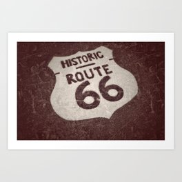 Historic U.S. old Route 66 sign. Art Print