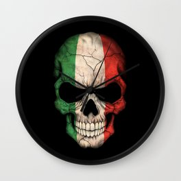 Dark Skull with Flag of Italy Wall Clock