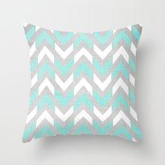 Teal & White Herringbone Chevron on Silver Wood Throw Pillow