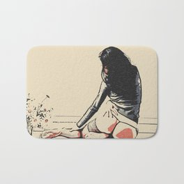 Seducing Girl with flowers, sexy brunette woman nude, kinky posing in lingerie, perfect fit body Bath Mat
