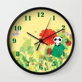 panda and flowers Wall Clock