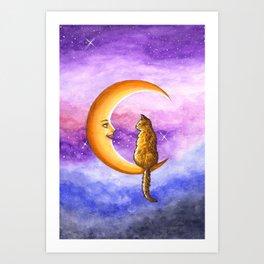 Cat on Moon 673 Art Print