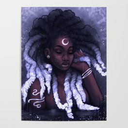 His Afrofutro Moon Poster