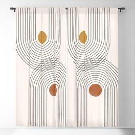 Geometric Arch Lines – Rainbow Lines, Mustard / Burnt Orange Circles, Abstract Geometric Lines Blackout Curtain