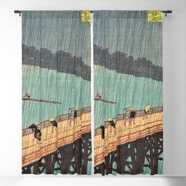 Utagawa Hiroshige - One Hundred Famous Views of Edo - Sudden Shower over Shin-Ohashi Bridge and Atake Blackout Curtain