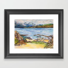 seascape by mountains Framed Art Print