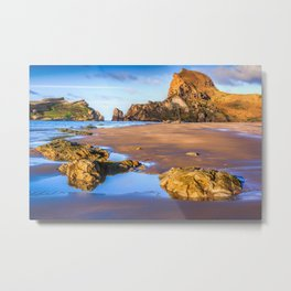 Sea, rocks and hills landscape Metal Print