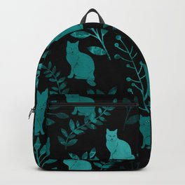 Watercolor Floral and Cat IV Backpack