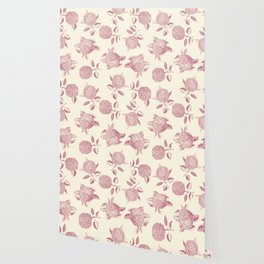 Big lush hydrangea flowers on off-white background seamless pattern. Pale pink. Atemporal, classic. Wallpaper