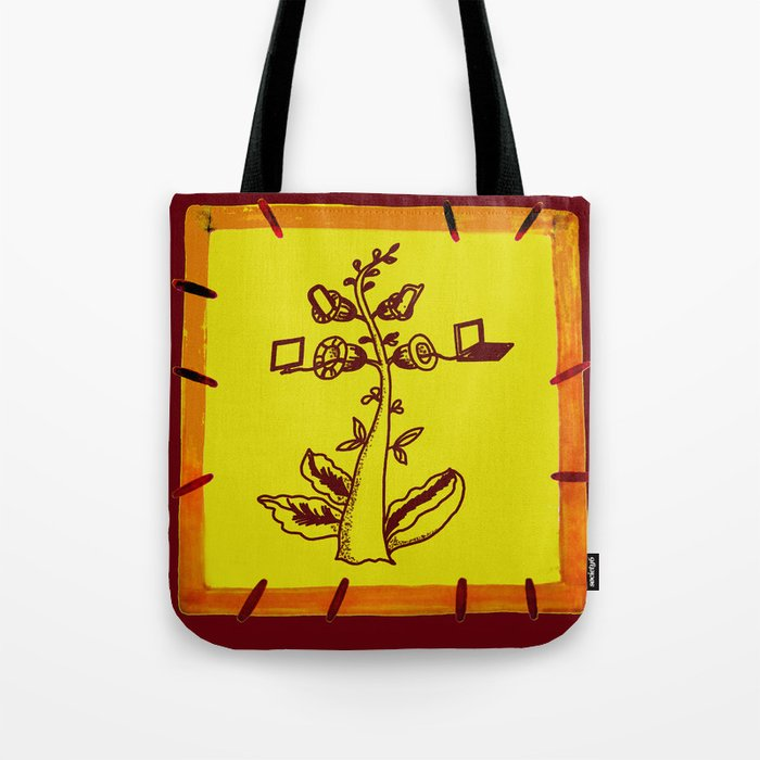 tree with a computer , telephone and other device Tote Bag