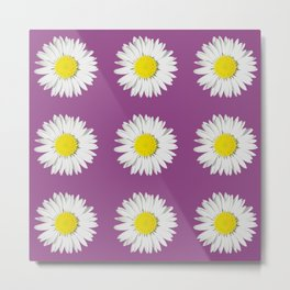 Retro Daisy · Purple Metal Print