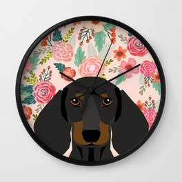 Dachshund florals cute pet gifts black and tan dachshund gifts for dog lover with weener dog Wall Clock