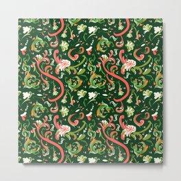 Swirly Trendy_Green Metal Print