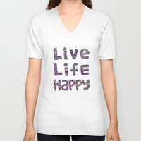 snorlax V-neck T-shirts featuring Live Life Happy Poster by koppen Code