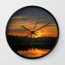 Sunset, Lake, Pine Forest & Crescent Moon Composite Wall Clock