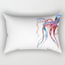 Octopus, blue red purple octopus art, octopus design Rectangular Pillow