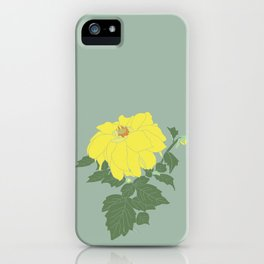 Yellow Dahlia Flower Illustrated Print iPhone Case