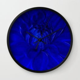 Royal Blue Fractal dahlia Wall Clock