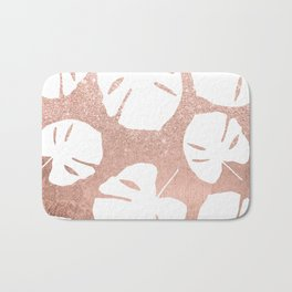 Tropical white monstera leaves on rose gold glitter ombre faux rose gold foil Bath Mat