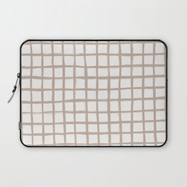 Strokes Grid - Nude on Off White Laptop Sleeve