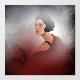 the woman in red - with rosebud Canvas Print