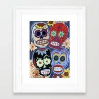 sugar skulls Framed Art Prints featuring Sugar Skulls by Lucy Train